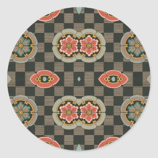 Vintage Geometric Floral on Checks Classic Round Sticker