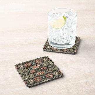 Vintage Geometric Floral on Checks Beverage Coasters