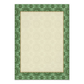Vintage Geometric Floral Pattern Sage Green 4.5x6.25 Paper Invitation Card