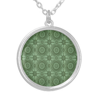 Vintage Geometric Floral Pattern Sage Green Silver Plated Necklace