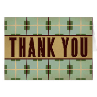 Vintage Geometric Green Brown Thank You Stationery Note Card