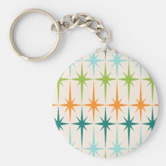 Vintage Geometric Starbursts Button Keychain