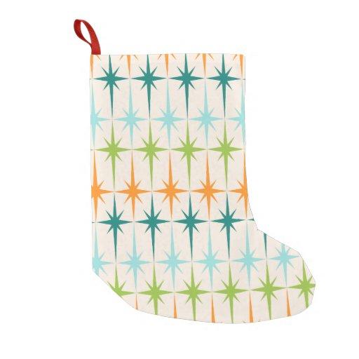 Vintage Geometric Starbursts Christmas Stocking...