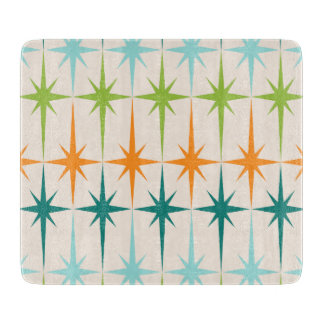 Vintage Geometric Starbursts Glass Cutting Board