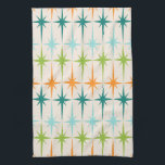 "Vintage Geometric Starbursts Kitchen Towel<br><div class=""desc"">Vintage. Geometrics. Starbursts. If you love any of those words, this retro Vintage Geometric Starbursts Kitchen Towel is for you. This mid century modern design features a cream background with rows of turquoise, lime green, orange, and teal starbursts. This mod design pairs beautifully with Strange Little Onion's Retro Atomic Mobile...</div>"