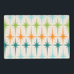 """Vintage Geometric Starbursts Laminated Placemat<br><div class=""""desc"""">Vintage. Geometrics. Starbursts. If you love any of those words, this retro Vintage Geometric Starbursts Laminated Placemat is for you. This mid century modern design features a cream background with rows of turquoise, lime green, orange, and teal starbursts. This mod design pairs beautifully with Strange Little Onion's Retro Atomic Mobile...</div>"""