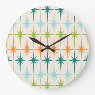 Vintage Geometric Starbursts Round Wall Clock