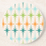 "Vintage Geometric Starbursts Sandstone Coaster<br><div class=""desc"">Vintage. Geometrics. Starbursts. If you love any of those words, this retro Vintage Geometric Starbursts Sandstone Coaster is for you. This mid century modern design features a cream background with rows of turquoise, lime green, orange, and teal starbursts. This mod design pairs beautifully with Strange Little Onion's Retro Atomic Mobile...</div>"