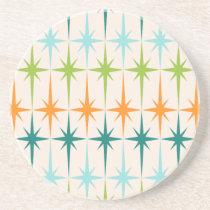 Vintage Geometric Starbursts Sandstone Coaster