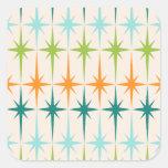 Vintage Geometric Starbursts Square Stickers