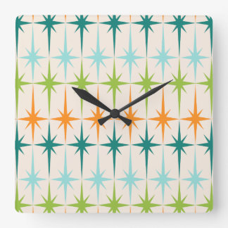Vintage Geometric Starbursts Square Wall Clock