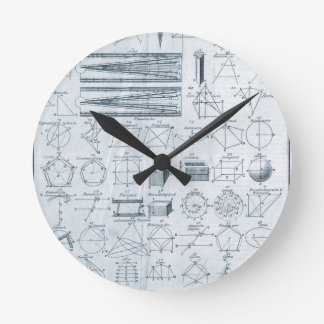 Vintage Geometry Round Wall Clock