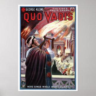 Vintage George Kleine Presents Quo Vadis Nero Poster