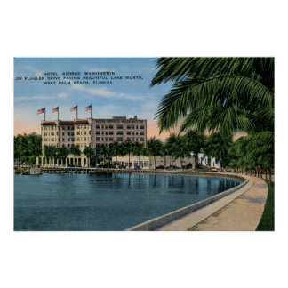 Vintage George Washington Hotel West Palm Beach Poster