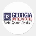 Vintage Georgia del Partido Verde del voto en 2012 Etiqueta Redonda