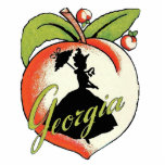 """Vintage Georgia Peach Silhouette Southern Bell Cutout<br><div class=""""desc"""">This is a vintage image of a Georgia peach with a black silhouette of a Southern bell lady holding her parasol.  See my store Art by MAR for matching products with this design.</div>"""