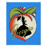 Vintage Georgia Peach Silhouette Southern Bell Poster