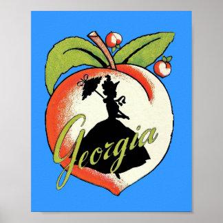 Vintage Georgia Peach Silhouette Southern Bell Print
