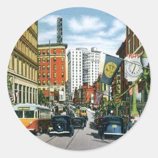 Vintage Georgia Street Scene Classic Round Sticker