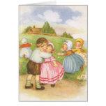 Vintage Georgie Porgie Mother Goose Nursery Rhyme Greeting Card