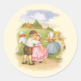 Vintage Georgie Porgie Mother Goose Nursery Rhyme Classic Round Sticker