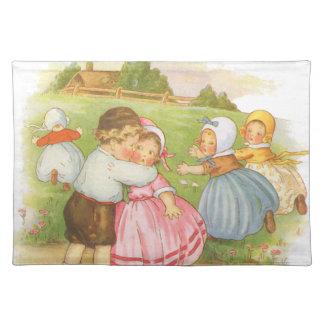 Vintage Georgie Porgie Mother Goose Nursery Rhyme Cloth Placemat