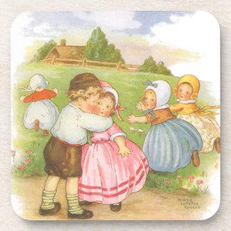 Vintage Georgie Porgie Mother Goose Nursery Rhyme Beverage Coasters
