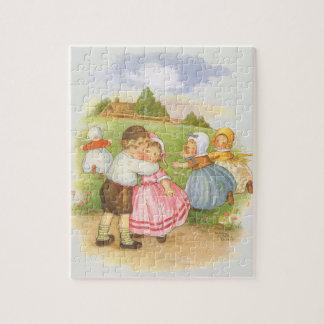Vintage Georgie Porgie Mother Goose Nursery Rhyme Jigsaw Puzzle