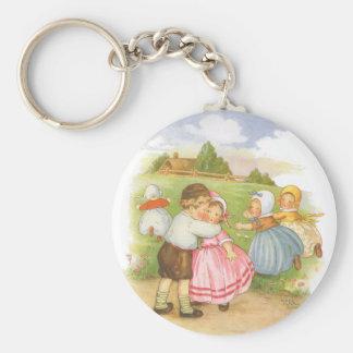 Vintage Georgie Porgie Mother Goose Nursery Rhyme Keychain