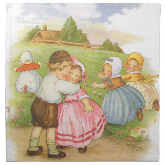 Vintage Georgie Porgie Mother Goose Nursery Rhyme Printed Napkins