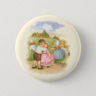 Vintage Georgie Porgie Mother Goose Nursery Rhyme Pinback Button