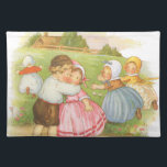 """Vintage Georgie Porgie Mother Goose Nursery Rhyme Placemat<br><div class=""""desc"""">Vintage illustration classic children&#39;s nursery rhyme story book image,  Georgie Porgie,  by Mary Lafetra Russell featuring cute little girls and boys playing games. Georgie Porgie,  Puddin&#39; and Pie,  Kissed the girls and made them cry,  When the boys came out to play Georgie Porgie ran away.</div>"""