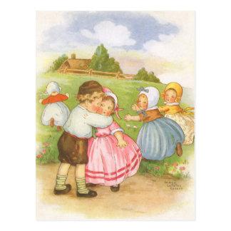 Vintage Georgie Porgie Mother Goose Nursery Rhyme Postcard