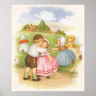 Vintage Georgie Porgie Mother Goose Nursery Rhyme Posters
