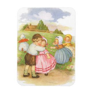 Vintage Georgie Porgie Mother Goose Nursery Rhyme Rectangular Photo Magnet