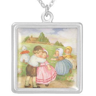 Vintage Georgie Porgie Mother Goose Nursery Rhyme Square Pendant Necklace