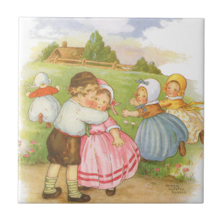 Vintage Georgie Porgie Mother Goose Nursery Rhyme Tile