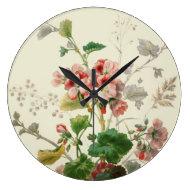 Vintage Geraniums Wall Clock