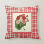 Vintage Geraniums with Coral Pink Plaid Pattern Pillow