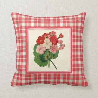 Vintage Geraniums with Coral Pink Plaid Pattern Throw Pillow