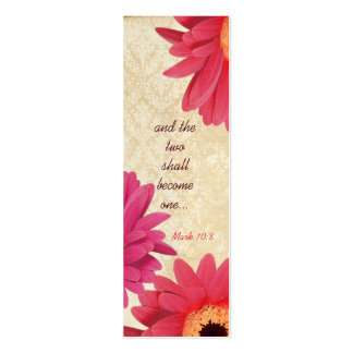 Vintage Gerber Coral Damask Fuchsia Wedding Tags Double-Sided Mini Business Cards (Pack Of 20)