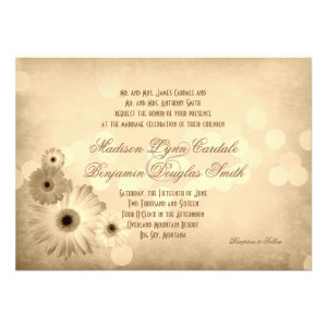 Vintage Gerber Daisies Wedding Invitations