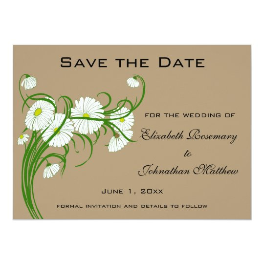 Vintage Gerber Daisy flowers Wedding Save the Date Card