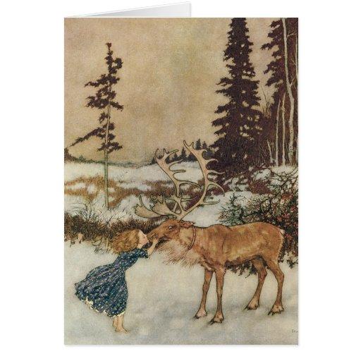 Vintage Gerda and the Reindeer by Edmund Dulac Greeting Cards