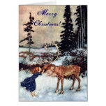 Vintage Gerda and the Reindeer by Edmund Dulac Card