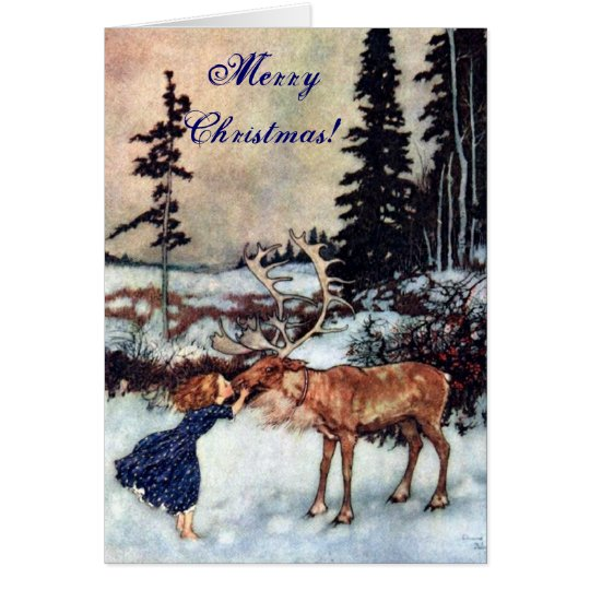 Vintage Gerda and the Reindeer by Edmund Dulac Card