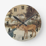Vintage Gerda and the Reindeer by Edmund Dulac Round Clock