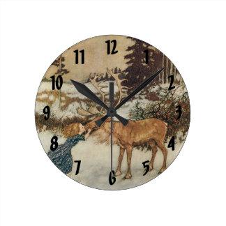 Vintage Gerda and the Reindeer by Edmund Dulac Round Wallclock