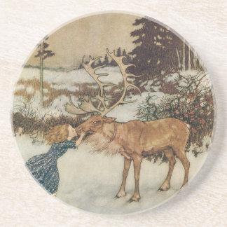 Vintage Gerda and the Reindeer by Edmund Dulac Coasters