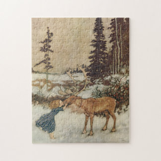 Vintage Gerda and the Reindeer by Edmund Dulac Jigsaw Puzzle